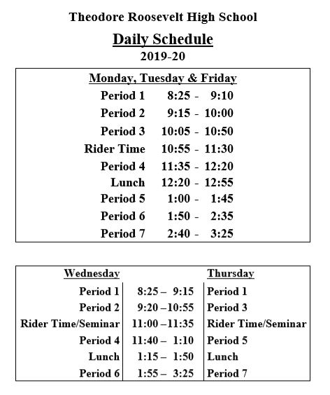 Bell Sched 09 03 19