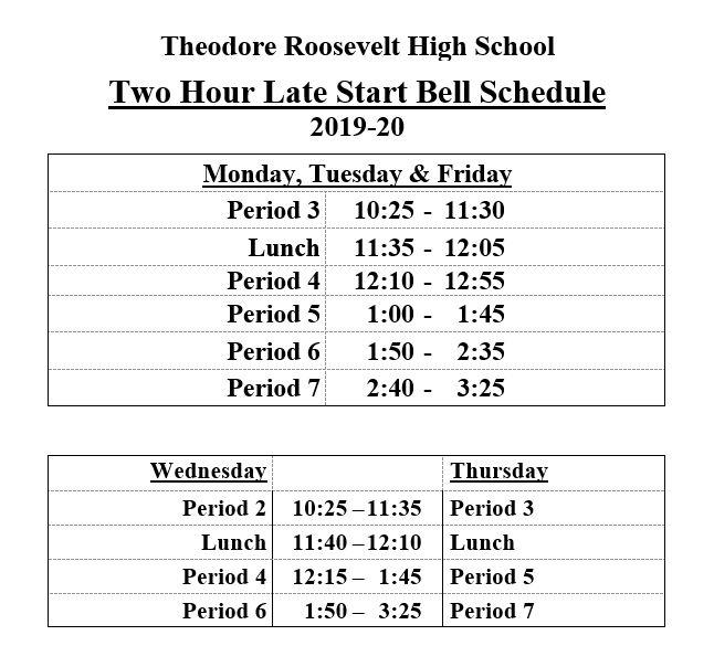 2 hr late start schedule 2019 20