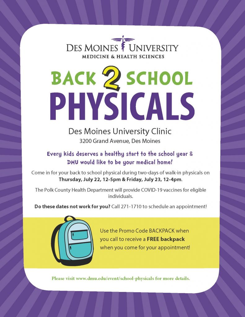 Back to School Physicals Flier 2021 Page 1